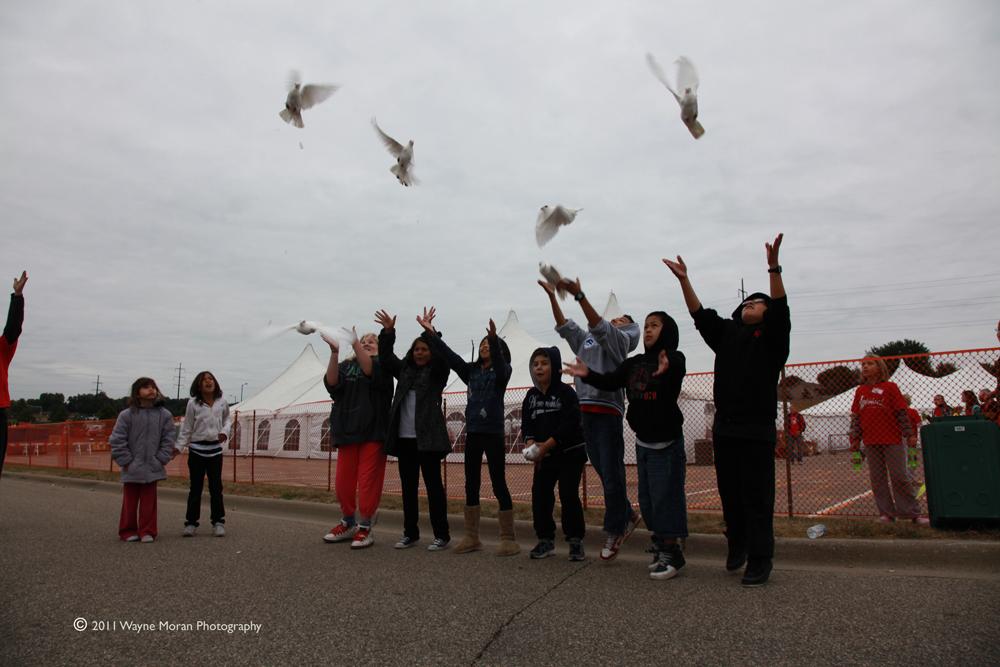 Releasing the pigeons at Jubilee Minnesota 2011