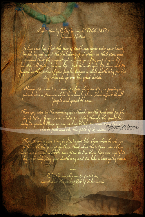 Purchase prints of Tecumseh Poem from Act of Valor Movie